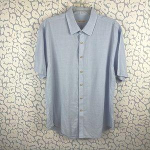 James Campbell blue Linen Blend short sleeve short